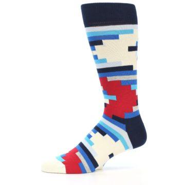 Image of Blue White Red Partial Stripes Men's Dress Socks (side-2-10)