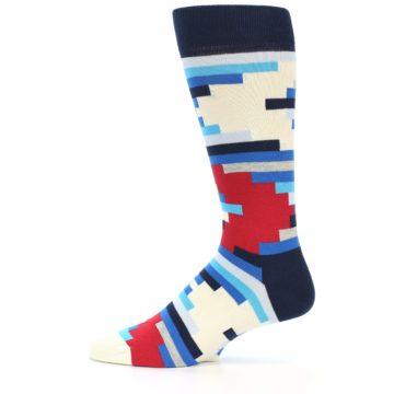 Image of Blue White Red Partial Stripes Men's Dress Socks (side-2-11)