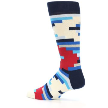 Image of Blue White Red Partial Stripes Men's Dress Socks (side-2-12)