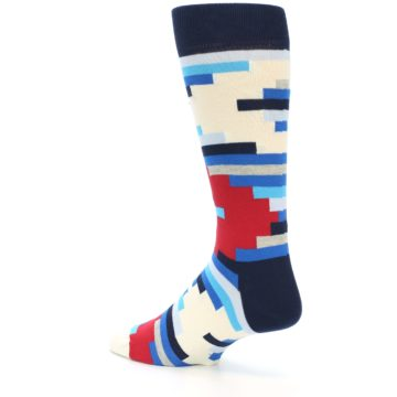 Image of Blue White Red Partial Stripes Men's Dress Socks (side-2-13)