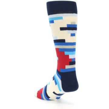 Image of Blue White Red Partial Stripes Men's Dress Socks (side-2-back-14)