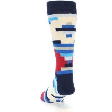 Image of Blue White Red Partial Stripes Men's Dress Socks (side-2-back-15)