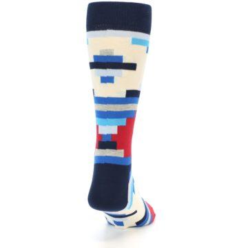 Image of Blue White Red Partial Stripes Men's Dress Socks (back-18)