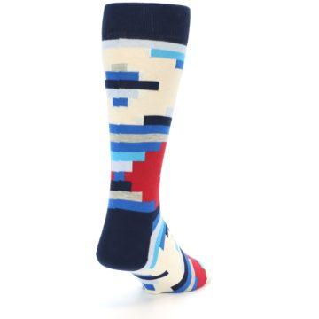 Image of Blue White Red Partial Stripes Men's Dress Socks (back-19)