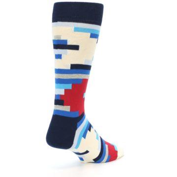 Image of Blue White Red Partial Stripes Men's Dress Socks (side-1-back-20)