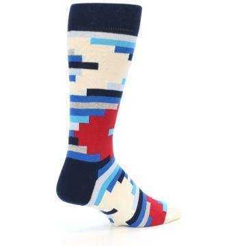 Image of Blue White Red Partial Stripes Men's Dress Socks (side-1-back-21)