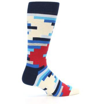 Image of Blue White Red Partial Stripes Men's Dress Socks (side-1-back-22)