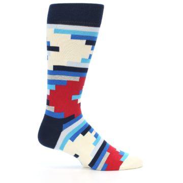Image of Blue White Red Partial Stripes Men's Dress Socks (side-1-23)