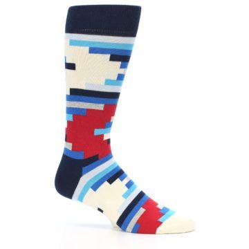 Image of Blue White Red Partial Stripes Men's Dress Socks (side-1-24)