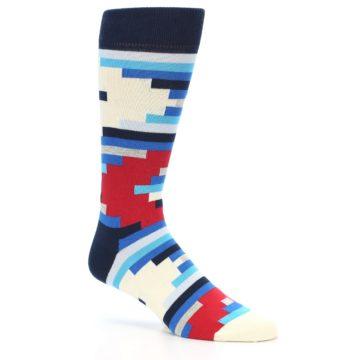 Image of Blue White Red Partial Stripes Men's Dress Socks (side-1-25)