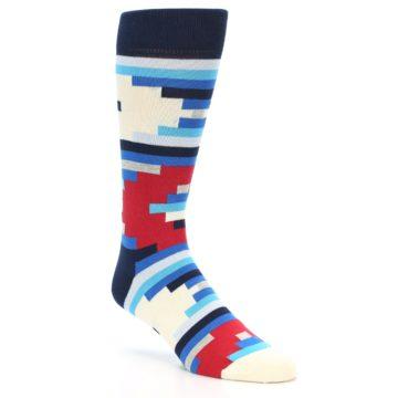 Image of Blue White Red Partial Stripes Men's Dress Socks (side-1-26)