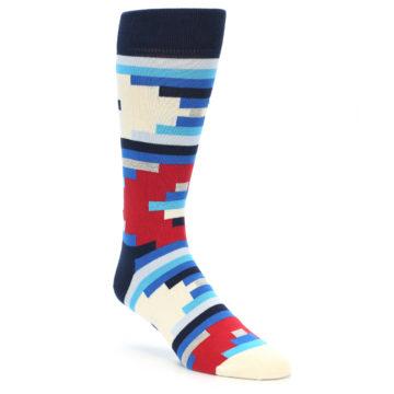 Image of Blue White Red Partial Stripes Men's Dress Socks (side-1-27)