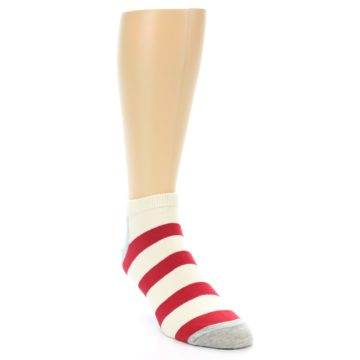 Image of Red White Stripe Men's Ankle Socks (side-1-front-02)