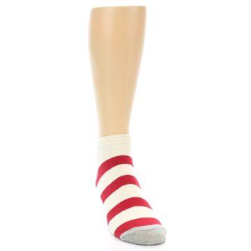 Image of Red White Stripe Men's Ankle Socks (side-1-front-03)