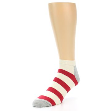 Image of Red White Stripe Men's Ankle Socks (side-2-front-08)