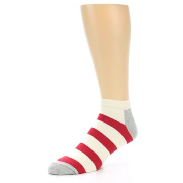 Image of Red White Stripe Men's Ankle Socks (side-2-09)