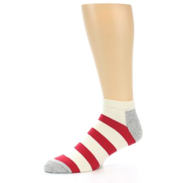 Image of Red White Stripe Men's Ankle Socks (side-2-10)