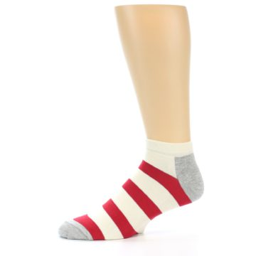 Image of Red White Stripe Men's Ankle Socks (side-2-11)