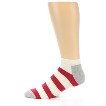 Image of Red White Stripe Men's Ankle Socks (side-2-12)