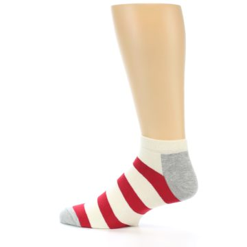 Image of Red White Stripe Men's Ankle Socks (side-2-13)