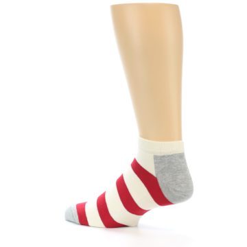 Image of Red White Stripe Men's Ankle Socks (side-2-back-14)