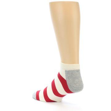 Image of Red White Stripe Men's Ankle Socks (side-2-back-15)