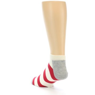 Image of Red White Stripe Men's Ankle Socks (side-2-back-16)
