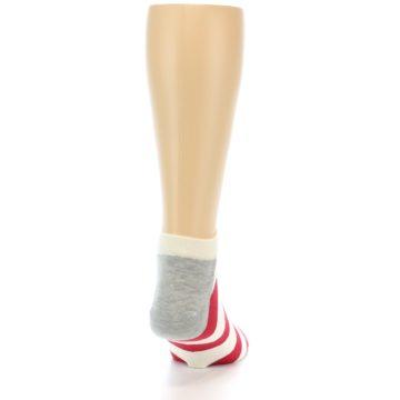 Image of Red White Stripe Men's Ankle Socks (side-1-back-20)