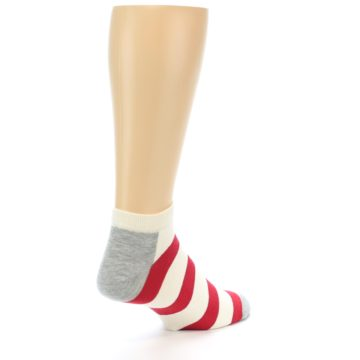 Image of Red White Stripe Men's Ankle Socks (side-1-back-22)