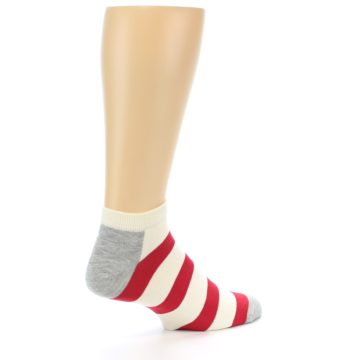 Image of Red White Stripe Men's Ankle Socks (side-1-23)