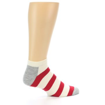Image of Red White Stripe Men's Ankle Socks (side-1-24)