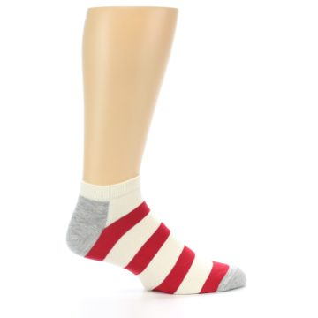 Image of Red White Stripe Men's Ankle Socks (side-1-25)