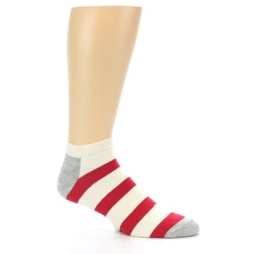 Image of Red White Stripe Men's Ankle Socks (side-1-26)