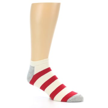 Image of Red White Stripe Men's Ankle Socks (side-1-27)