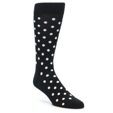 Image of Black White Polka Dot Men's Dress Socks (side-1-front-01)