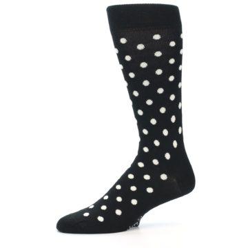 Image of Black White Polka Dot Men's Dress Socks (side-2-11)