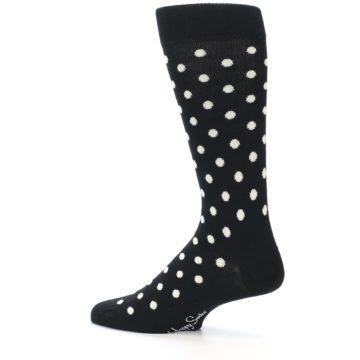 Image of Black White Polka Dot Men's Dress Socks (side-2-13)