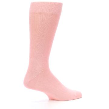 Image of Blossom Pink Solid Color Men's Dress Socks (side-1-24)