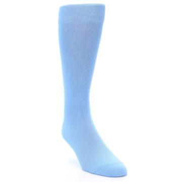 Image of Cornflower Blue Solid Color Men's Dress Socks (side-1-front-02)