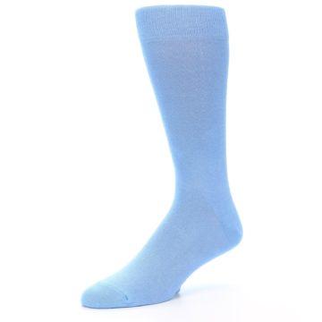 Image of Cornflower Blue Solid Color Men's Dress Socks (side-2-09)