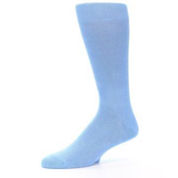 Image of Cornflower Blue Solid Color Men's Dress Socks (side-2-10)