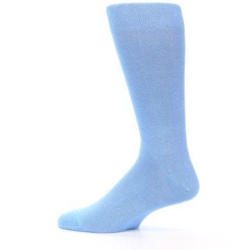 Image of Cornflower Blue Solid Color Men's Dress Socks (side-2-12)