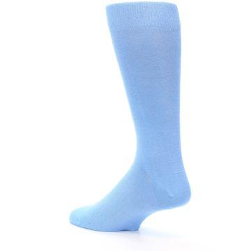 Image of Cornflower Blue Solid Color Men's Dress Socks (side-2-back-14)