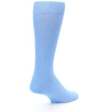 Image of Cornflower Blue Solid Color Men's Dress Socks (side-1-back-22)