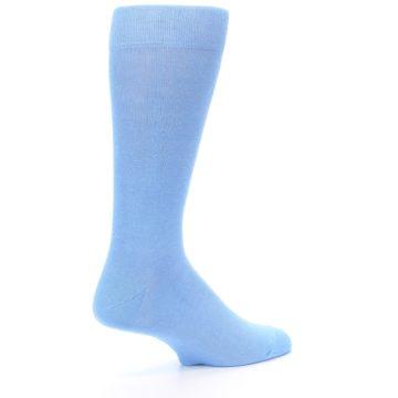 Image of Cornflower Blue Solid Color Men's Dress Socks (side-1-23)