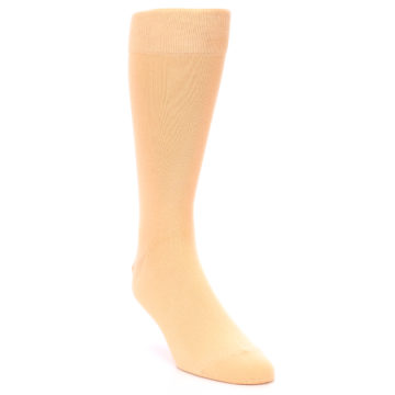 Image of Peach Solid Color Men's Dress Socks (side-1-front-02)