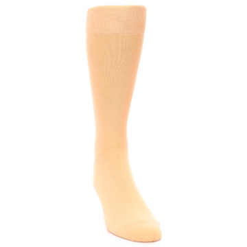 Image of Peach Solid Color Men's Dress Socks (side-1-front-03)