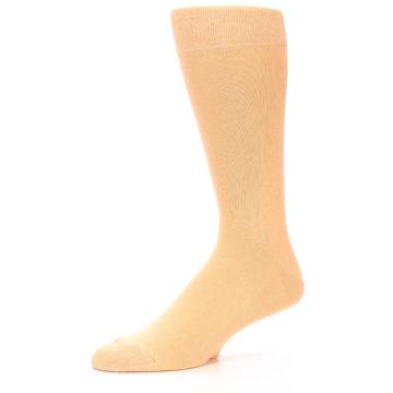Image of Peach Solid Color Men's Dress Socks (side-2-10)