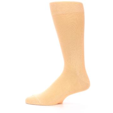 Image of Peach Solid Color Men's Dress Socks (side-2-12)