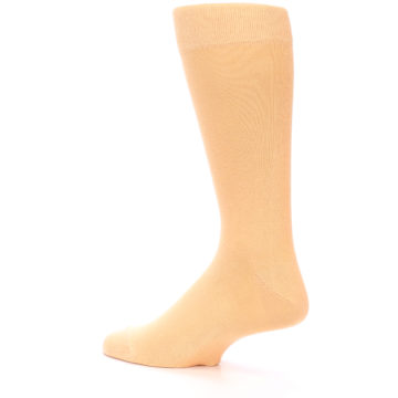 Image of Peach Solid Color Men's Dress Socks (side-2-back-14)